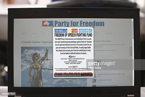 A financial support request is seen on the Party for Freedom website asking for donations to help pay legal fees to pay for the legal fees from...