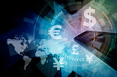 financial technology(fintech) and world economy, abstract image visual