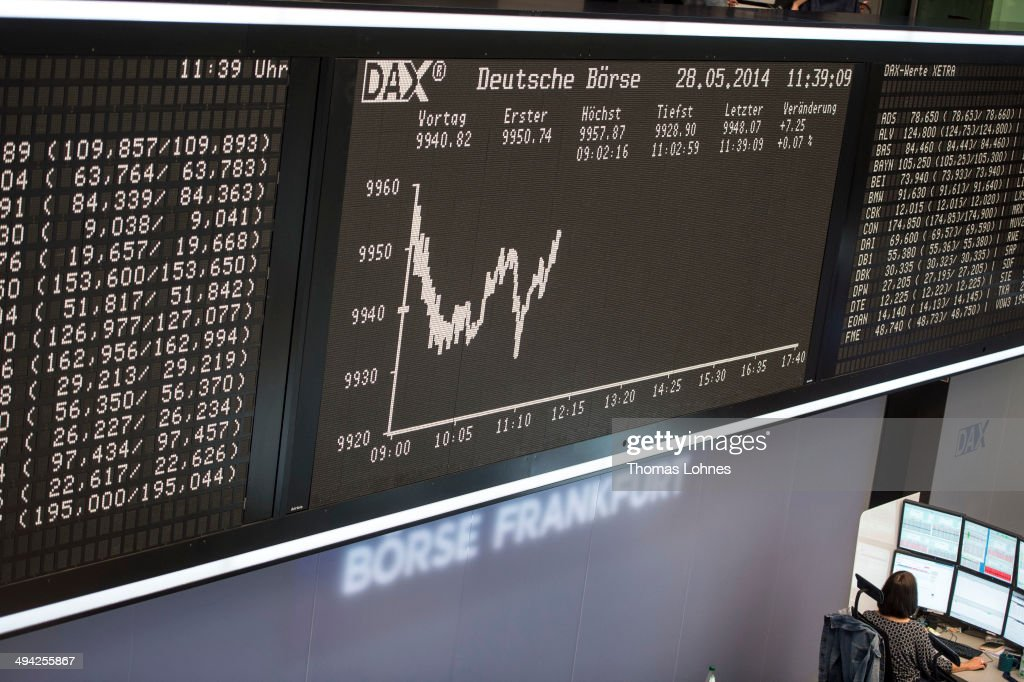 Financial trader works under the DAX Index curve at the Frankfurt Stock Exchange on May 28 2014 in Frankfurt/Main Germany The DAX is at a high level...