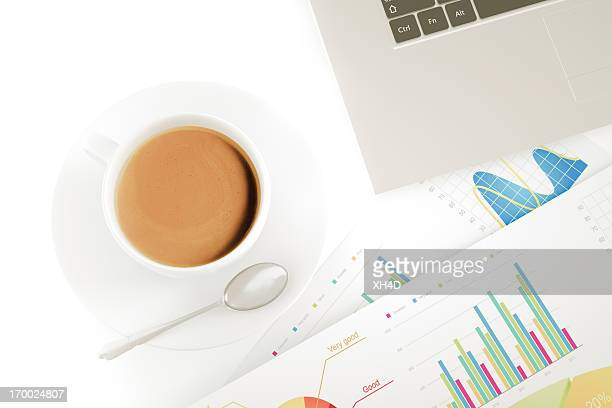 Financial working with coffee