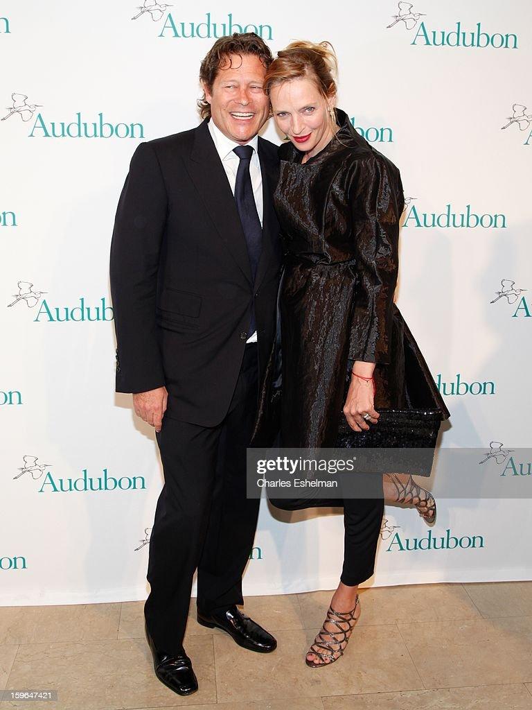 Financier Arpad Busson and wife, actress Uma Thurman attend the 2013 National Audubon Society Gala dinner on January 17, 2013 at The Plaza Hotel in New York, City.