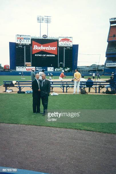 ACCESS*** Financier Bernard Madoff with the owner of the New York Mets Fred Wilpon at Shea Stadium during June 1995 in New York City