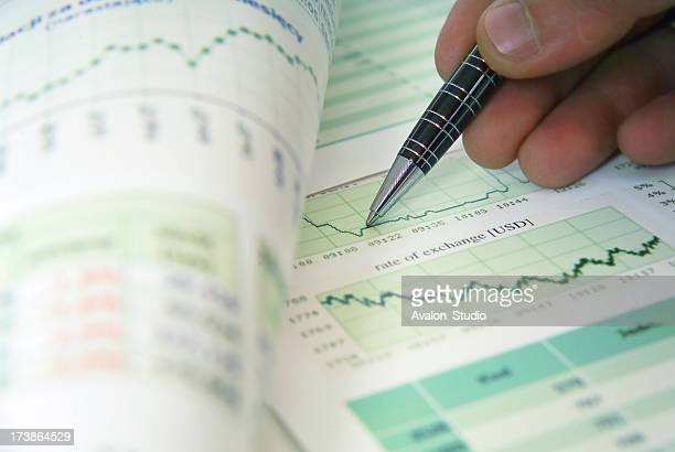 Financier checks financial documents