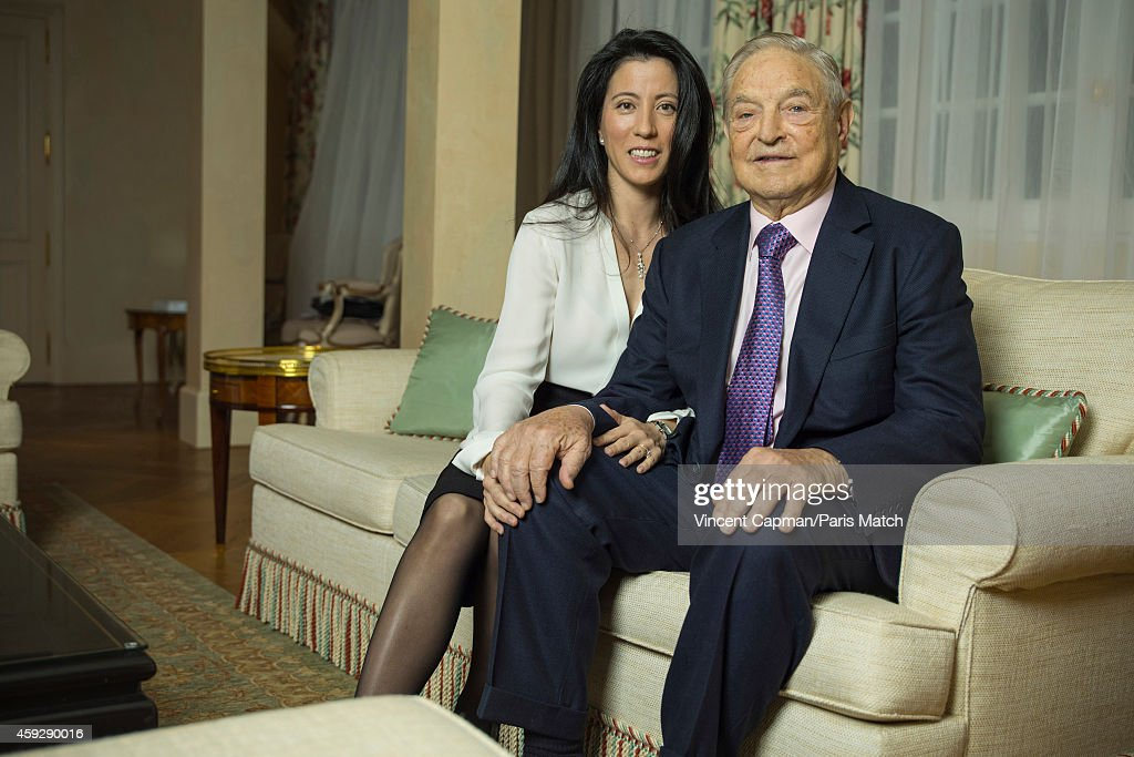 Financier <a gi-track='captionPersonalityLinkClicked' href=/galleries/search?phrase=George+Soros&family=editorial&specificpeople=212841 ng-click='$event.stopPropagation()'>George Soros</a> with his wife Tamiko Bolton are photographed for Paris Match on November 5, 2014 in Paris, France.