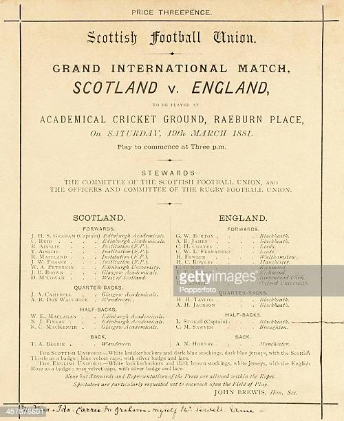A fine and rare international rugby programme for the Grand International Match between Scotland and England played at the Academical Cricket Ground...