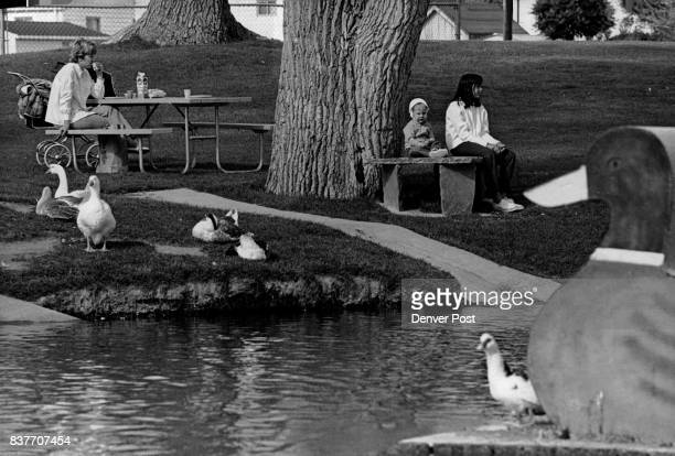 Fine day for fowl and friends Resting at Dartmouth Park in Englewood are Mrs Charles Saling Dwye ne Saling and Jennifer Goldsby 12 Park was recently...