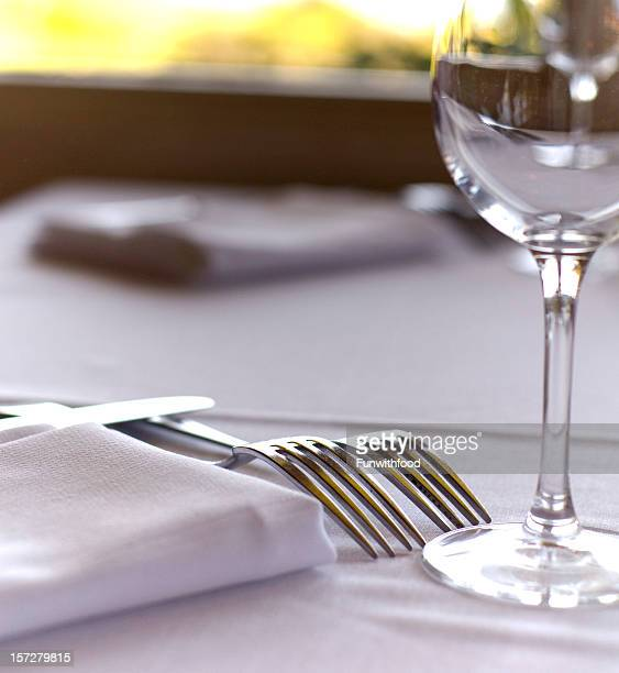 Fine Dining Restaurant Dinner Table Place Setting, Napkin & Wineglass