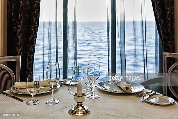 Fine Dining Restaurant table set for two with ocean view