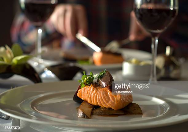 Fine Dining Table for Two, Restaurant Dinner; Salmon Fish Seafood