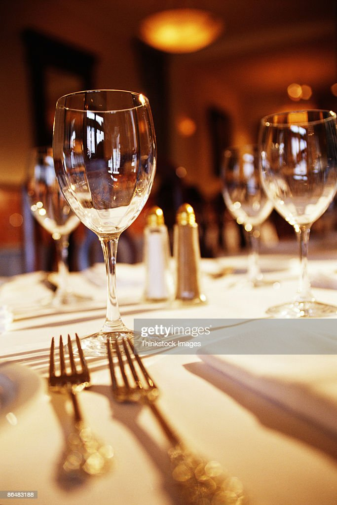 Fine dining table setting stock photo getty images for Fine dining table setting