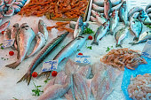 Fine fish and seafood seen at a market in Palermo, Sicily