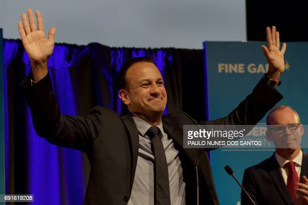 Fine Gael TD for Dublin West and Minister for Social Protection Leo Varadkar celebrates victory after winning the party leadership election at the...