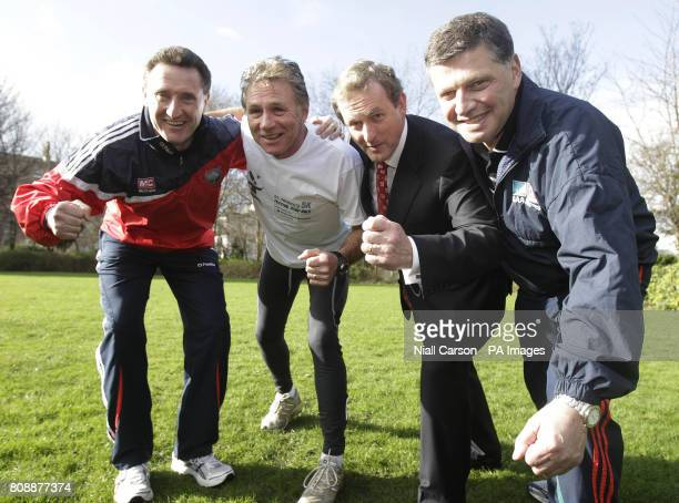 Fine Gael Leader Enda Kenny with election candidates former Louth manager Peter Fitzpatrick athlete Eamonn Coghlan and former Mayo Galway and Leitrim...