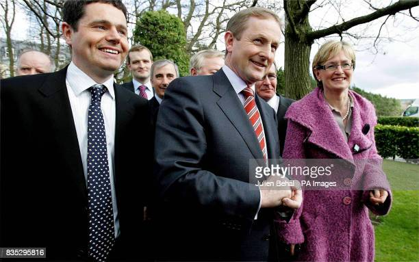 Fine Gael leader Enda Kenny with European election candidates before he delivers his presidential address in the Citywest Hotel in Dublin