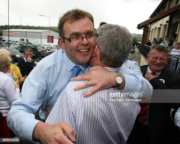 Fine Gael's Joe McHugh is swamped by supporters at the count centre in Letterkenny Co Donegal where he topped the poll