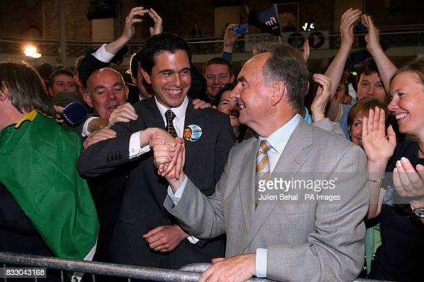 Fine Gael's Terence Flanagan shakes hands with Fianna Fail's Michael Woods after both were elected in Dublin North East during the counting in the...