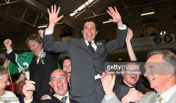 Fine Gael's Terence Flanagan with Fianna Fail's Michael Woods and Labour's Tommy Broughan at the RDS in Dublin as all were elected in the Dublin...