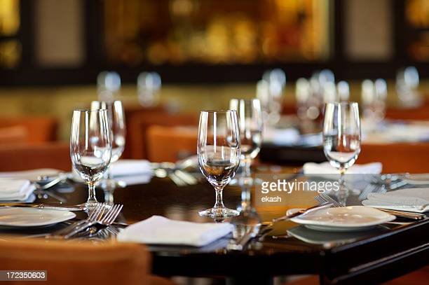 Fine table setting in gourmet restaurant (close-up)