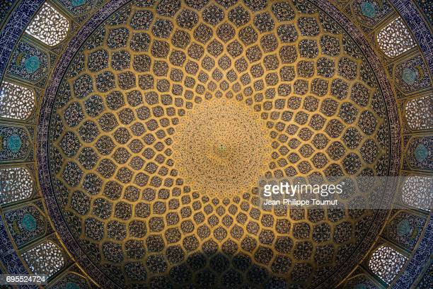 Fine tilework of the ceiling of Sheikh Lotfollah Mosque, Isfahan, Iran