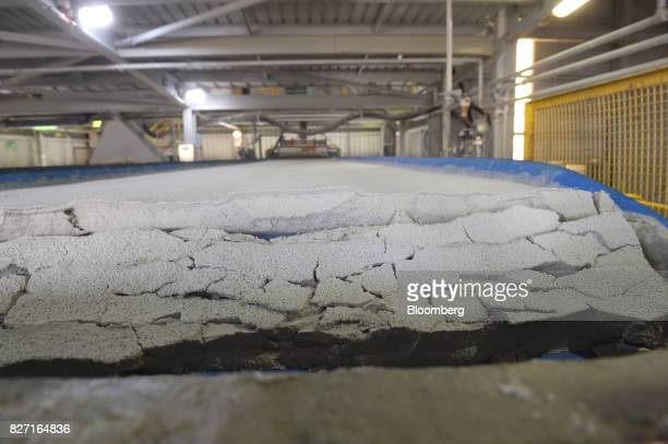 Finely ground lithium ore moves along a conveyor for water extraction during the final stages of processing at a Talison Lithium Ltd facility a joint...