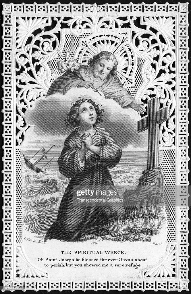 A finely printed religious card that features a shipwrecked supplicant was published circa 1900 in Paris France