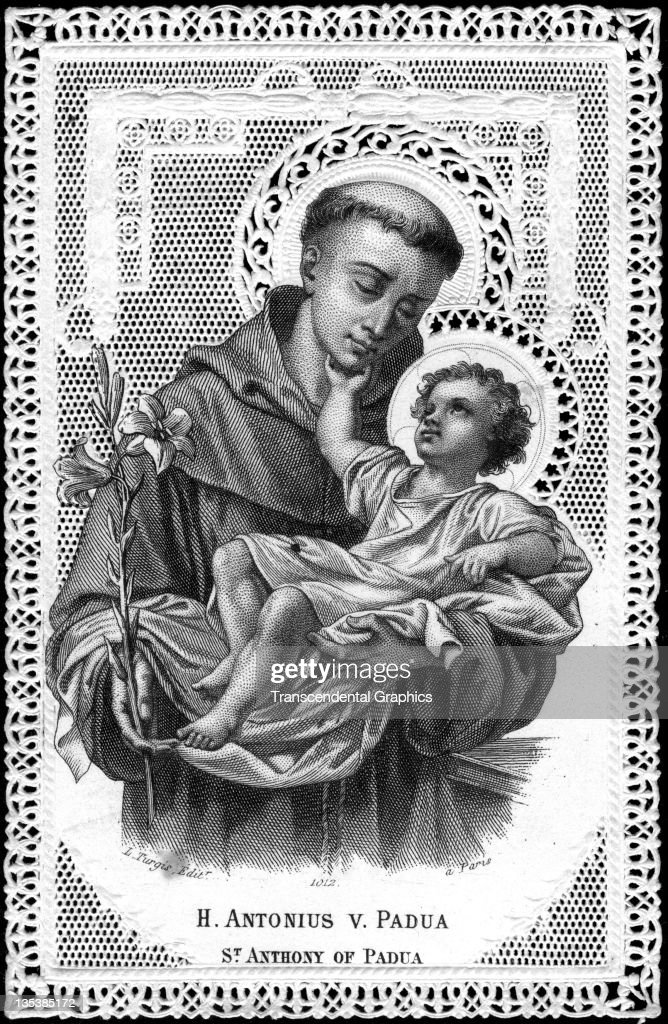 A finely printed religious card that features Saint Antonius of Padua was published circa 1900 in Paris France