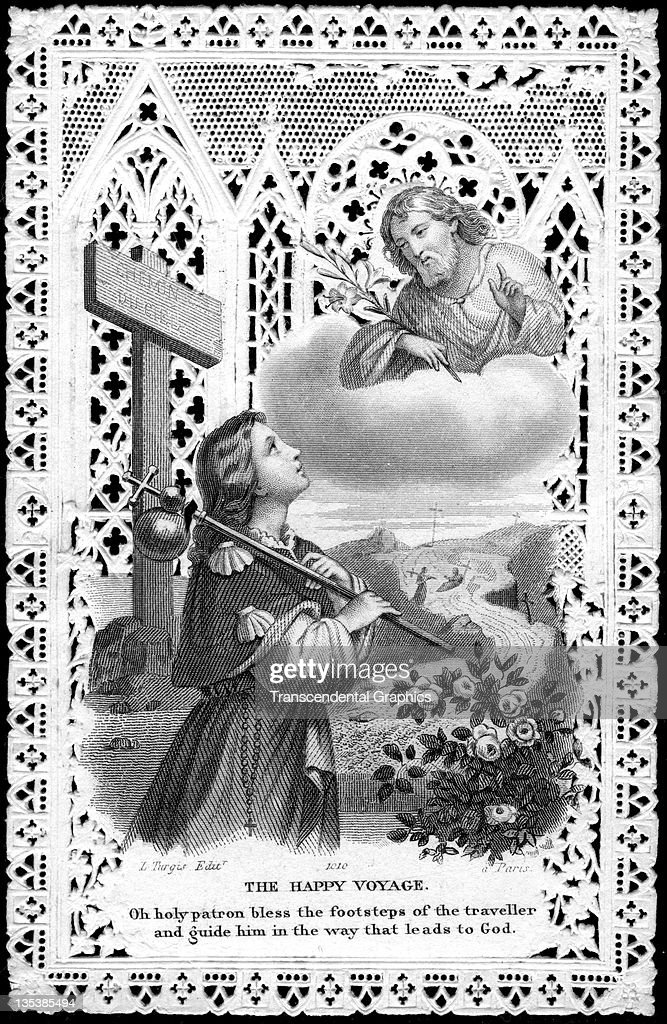 A finely printed religious card that features Saint Christopher was published circa 1900 in Paris France