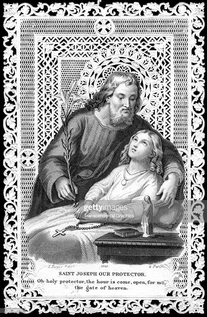 A finely printed religious card that features Saint Joseph was published circa 1900 in Paris France