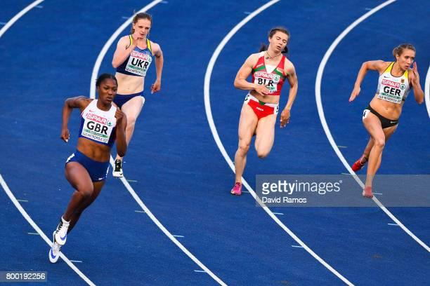 Finette Agyapong of Great Britain Alina Kalistratova of Ukraine Krystsina Tsimanouskaya of Belarus and Rebekka Haase of Germany compete in the...