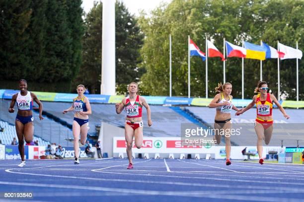Finette Agyapong of Great Britain Alina Kalistratova of Ukraine Krystsina Tsimanouskaya of Belarus Rebekka Haase of Germany and Estela Garcia of...