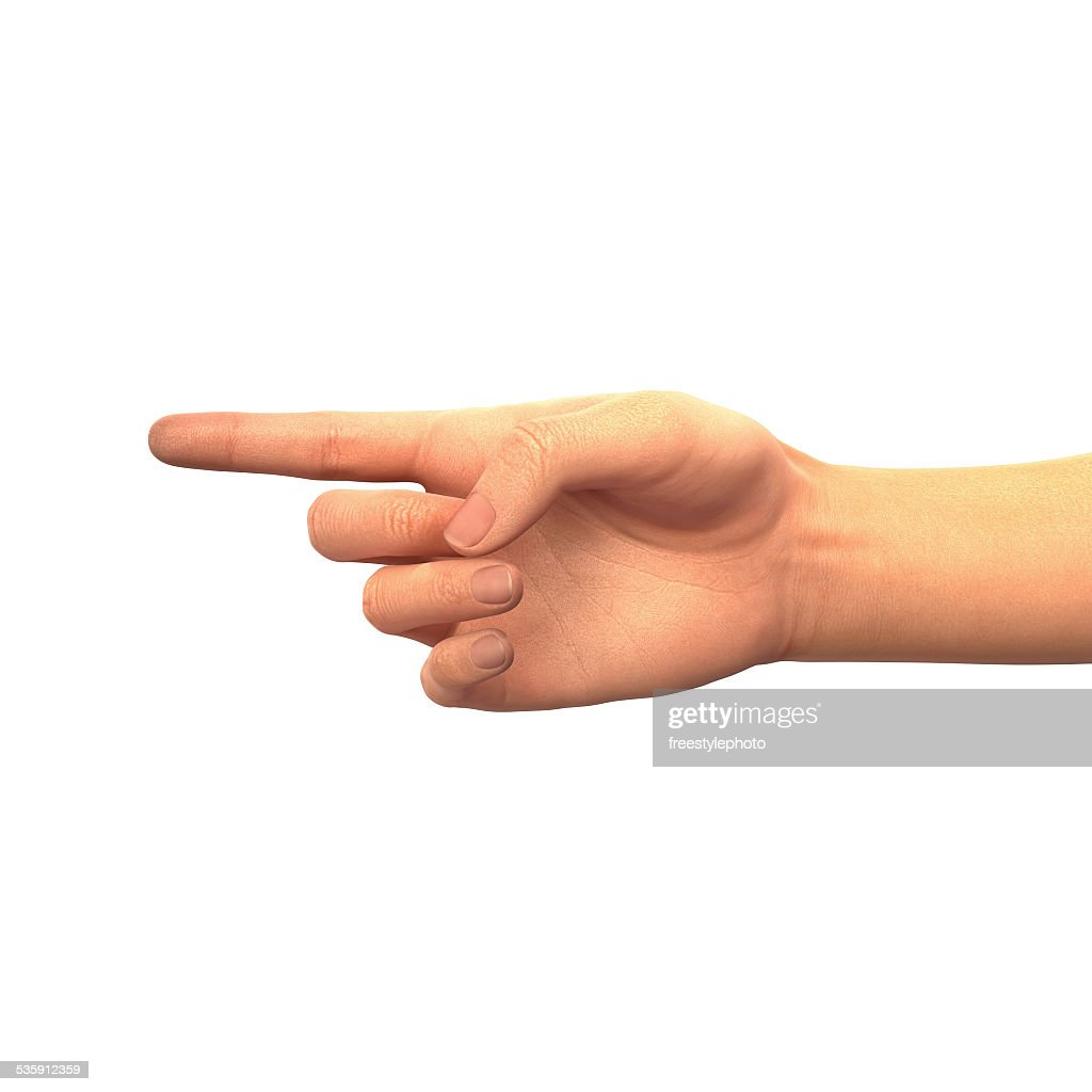 Finger pointing left : Stock Photo