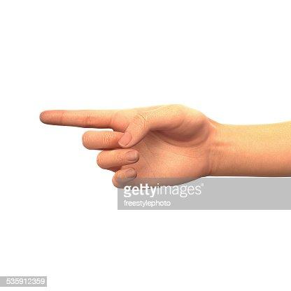 Dedo apuntando a la izquierda : Foto de stock
