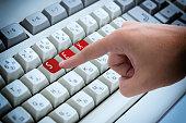 Finger pressing button Keywords sex on keyboard computer