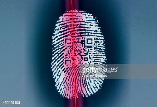 Finger print with QR code being scanned