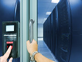 Finger scan security for entry server room