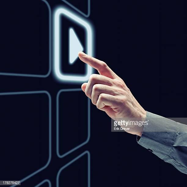 Finger touching app button