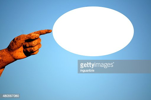 finger with oval white label : Stock Photo