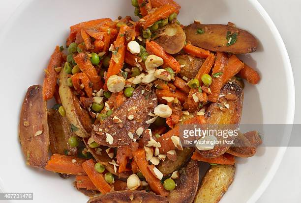 Fingerling Carrot Pea Ragout With Tarragon and Hazelnuts photographed in Washington DC