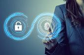 fingerprint authentication. biometric authentication concept. mixed media.
