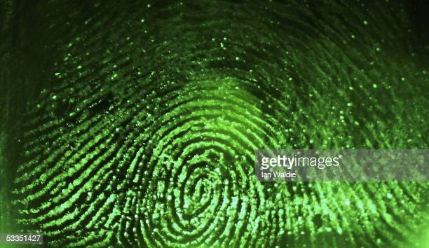 A fingerprint is scanned at Argus Soloutions August 11 2005 in Sydney Australia The Australian Federal Government are considering including biometric...