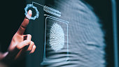 Fingerprint scan - 3d rendered image. Person unlocking with fingerprint scan using biometrics.  Security concept.