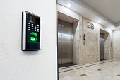 fingerprint on wall and backgrounds of modern elevator hall