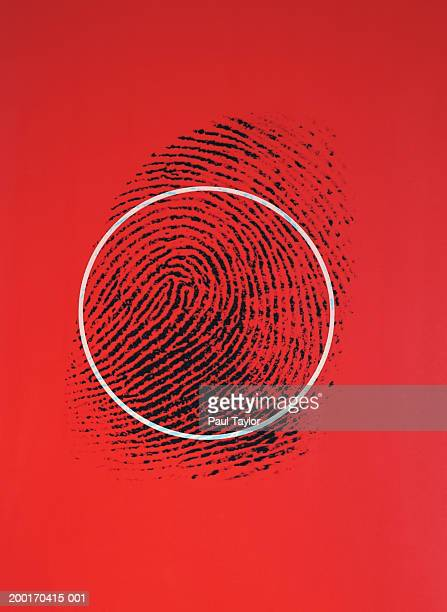 Fingerprint with circle, red background