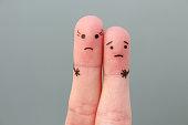 Fingers art of couple. Concept woman taller than man.