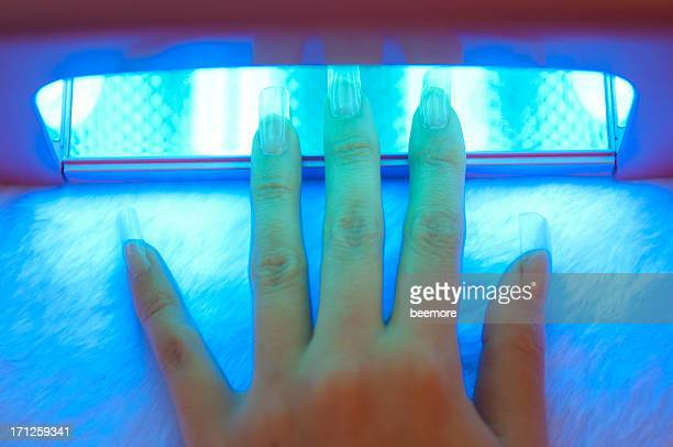 Fingers under UV Nail Dryer