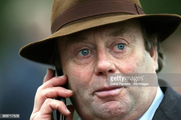 Finian's Rainbow trainer Nicky Henderson after winning the williamhillcom Desert Orchid Steeple Chase Race during the William Hill Winter Festival at...