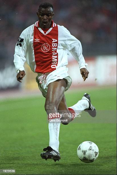 Finidi George of Ajax in action during the European Cup semifinal against Bayern Munich at the Olympic Stadium in Munich Germany The match ended in a...