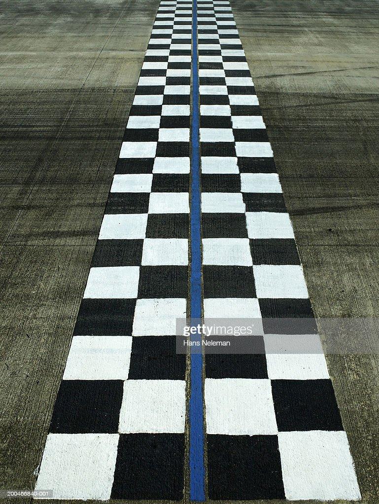 Finish Line Photography: Finish Line On Auto Race Track Dusk Stock Photo