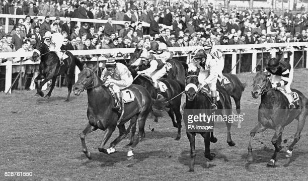 Finish of the Irish Sweeps Lincoln Handicap at Doncaster with Mr C Goulandris's New Chapter with A Barclay up beating Mr A Swift's Prince De Galles...