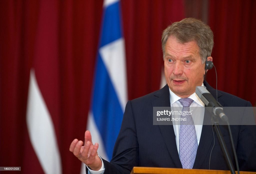 Finish President Sauli Niinisto speaks during a joint press conference with his Latvian counterpart after their meeting in Riga, Latvia, on September 10, 2013.